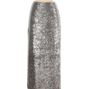 Talbots Silver Sequin Maxi Skirt with Slit